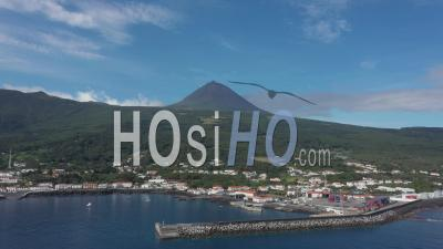 Mount Pico On A Sunny Day From Ocean - Video Drone Footage
