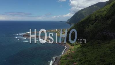 Lagoon And Cliffs On San Jorge Island - Video Drone Footage