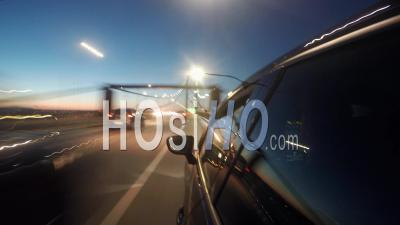 Hyper Lapse Driving A Black Car At Night In Lisbon