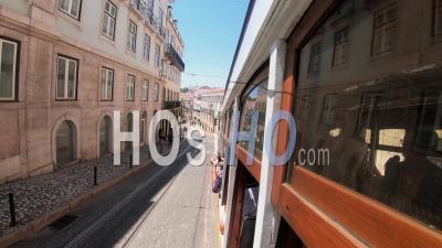 Hyper Lapse Of A Moving Tram In Lisbon