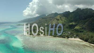 Moorea Island, French Polynesia - Video Drone Footage, Pacific Ocean, France