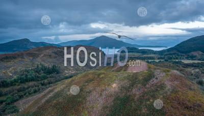 Aerial Panoramic View Over Scottish Highlands At Early Autumn - Aerial Photography