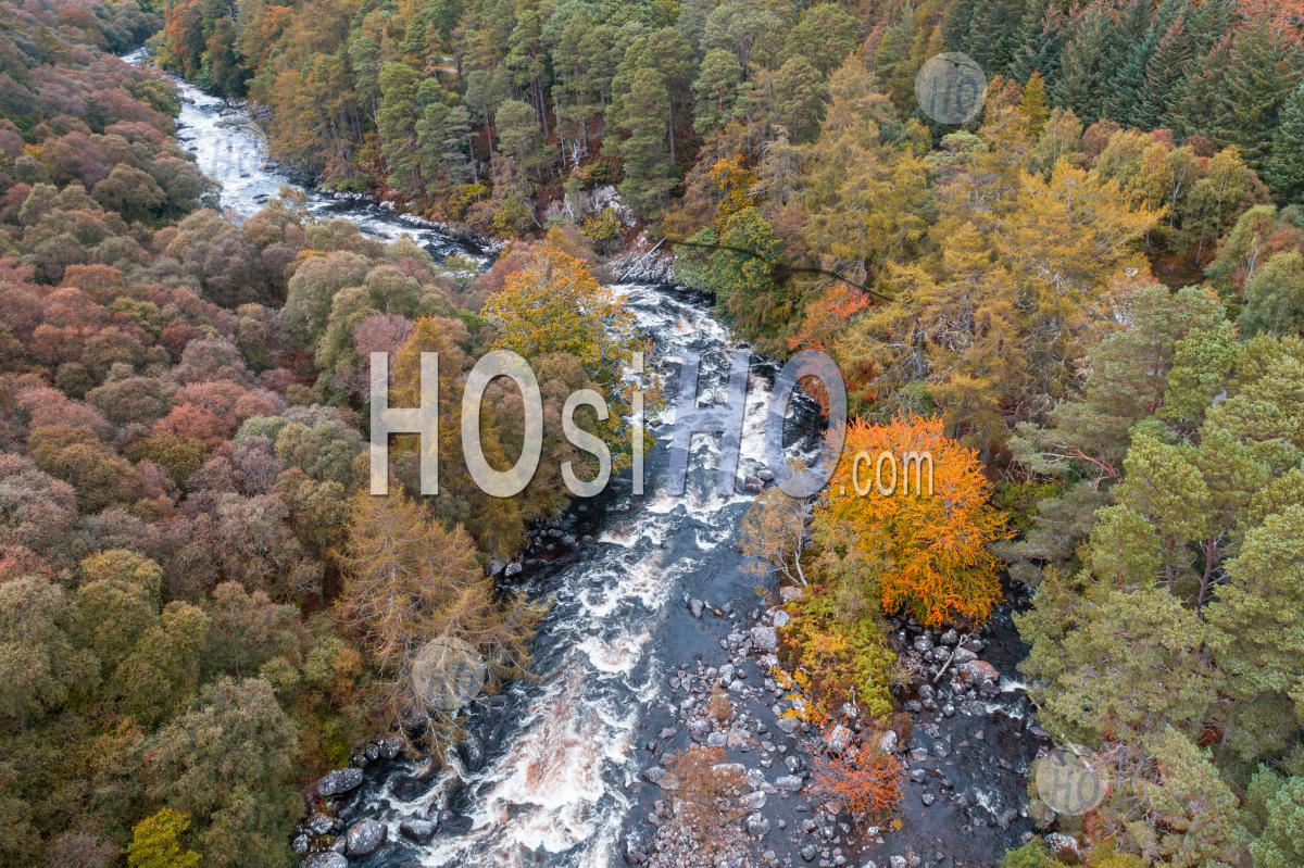 Drone Shoot Over River In Scottish Highlands At Autumn - Aerial Photography