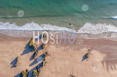 Top Down Drone View Over Sandy Beach In Scotland - Aerial Photography