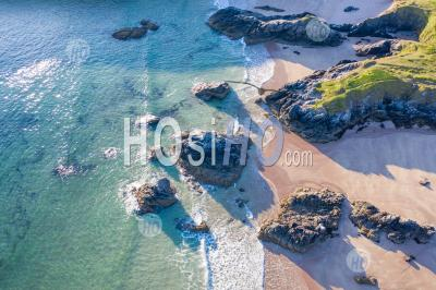 Drone View Over Scenic Sandy Beach In Scotland - Photographie Aérienne