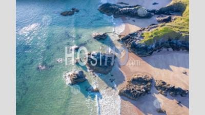 Drone View Over Scenic Sandy Beach In Scotland - Aerial Photography