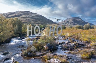 Aerial View Over Moriston River At Early Autumn In Highlands Of Scotland - Aerial Photography