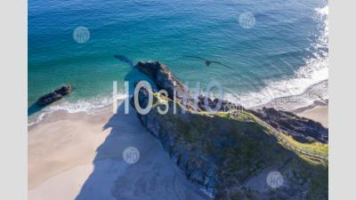 Aerial View Over Sango Bay View Point In Scotland - Aerial Photography