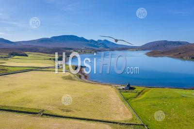 Aerial View Over Kyle Of Durness In Scotland - Aerial Photography