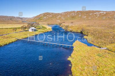 Aerial View Over River Laxford In Scottish Highlands - Aerial Photography