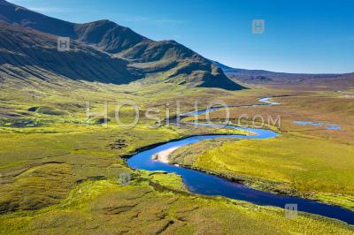 Aerial View Over Scenic River In Scottish Highlands - Aerial Photography