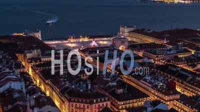 Aerial View Of Lisbon At Night, Lisboa, Commerce Square, Rua Augusta Arch, Portugal - Drone Point Of View