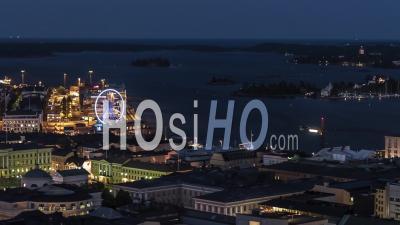 Vue Aérienne Générale D'helsinki La Nuit, Helsinki Skyline, Finlande - Vidéo Drone