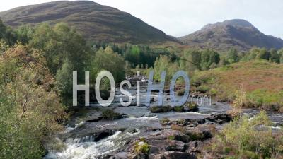 Aerial View Over Moriston River At Early Autumn In Highlands Of Scotland - Video Drone Footage