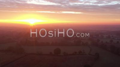Sunrise Over Rural Landscape, Poitou-Charentes - Drone Point Of View