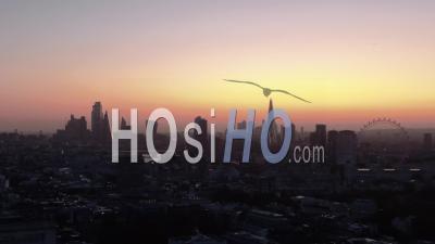 Ville De Londres Et London Eye Au Lever Du Soleil - Vidéo Drone