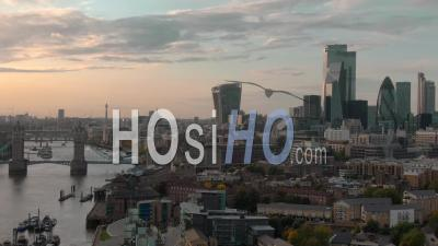 City Of London Skyline And Tower Bridge In London, At Sunset - Drone Point Of View