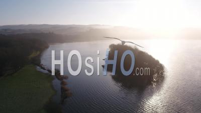 Cold And Sunny Morning At The Drennec Lake - Drone Point Of View