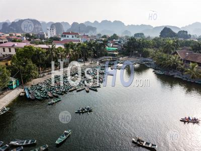 Port Of Rowing Boats At Hoa Lu , Tam Coc , Vietnam - Aerial Photography