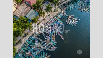 Rowing Boat Parked Waiting For Passengers At Hoa Lu , Tam Coc , Vietnam - Aerial Photography