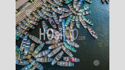 View From Above Rowing Boat Parked At Hoa Lu ,Tam Coc , Vietnam - Aerial Photography