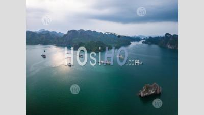 Cruise Ship From Above, Lan Ha Bay , Vietnam - Aerial Photography