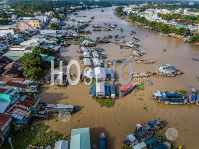Aerial View From Above With Drone , Of The Floating Market On Delta Mekong , Can Tho, Vietnam - Aerial Photography