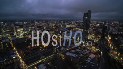 La Ville De Manchester De Nuit, Angleterre - Vidéo Drone