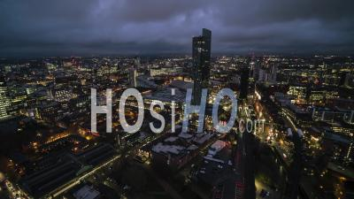 Establishing Aerial View Shot Of Manchester England United Kingdom Night - Video Drone Footage