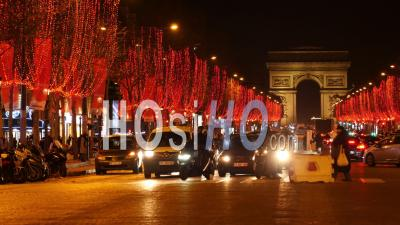 Paris, Beautiful Evening In Paris, Champs Elysees Decorated For Christmas, Traffic Near Arc De Triomphe