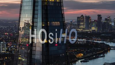 Aerial Shot View Revealing Canary Wharf Business District Early Morning London United Kingdom - Video Drone Footage