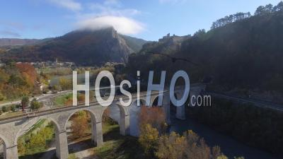 Sisteron From The Buëch River, Seen By Drone