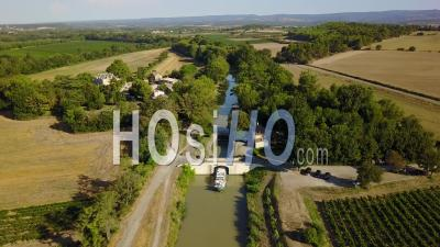 Houseboat At A Floodgate On Canal Du Midi - Video Drone Footage