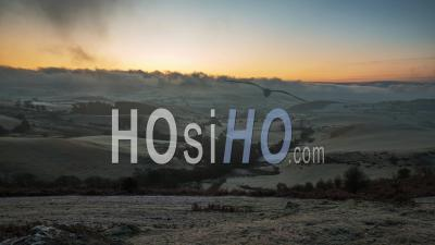 British Countryside Fields At Frosty Sunrise In Shropshire
