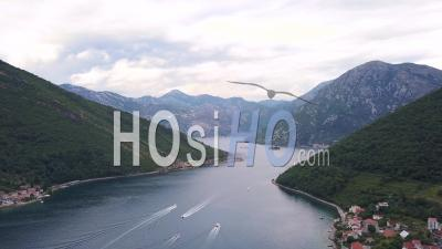 Bustling Boat Entrance To The Bay Of Kotor. Aerial View - Drone Point Of View