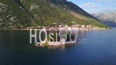 Saint George Island Pano Shot In Perast, Montenegro - Drone Point Of View