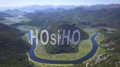 Montenegro Skadar Lake Horse Shoe. Aerial Footage - Video Drone Footage