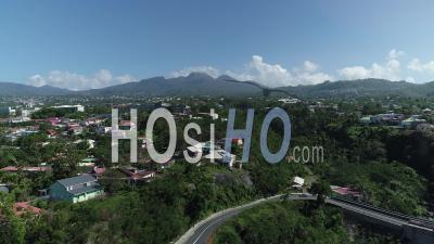 Soufriere Volcano Form The City Of Basse-Terre, Guadeloupe - Video Drone Footage