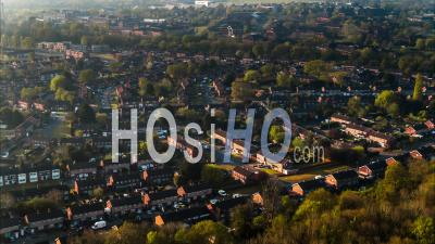 Aerial View Of Classic British Housing Estate, English Houses And Homes From Above - Video Drone Footage