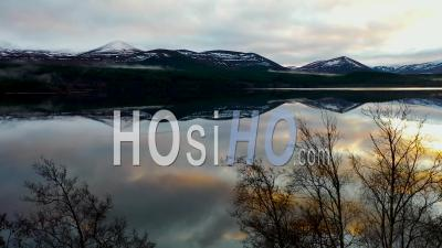 Sunset Over Lake Morlich And Cairngorms, Aviemore, Scotland, Drone Point Of View