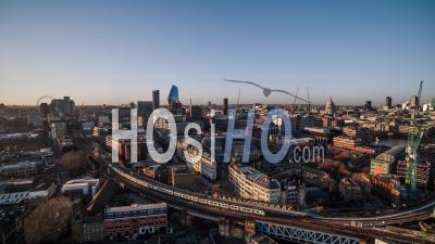 Train Going To London Waterloo Station Skyline London Eye Bt Tower Panorama United Kingdom - Drone Point Of View