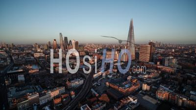London Skyline Shard The City Panorama Canary Wharf In The Background United Kingdom - Video Drone Footage