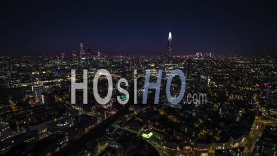London Skyline At Night - Drone Point Of View