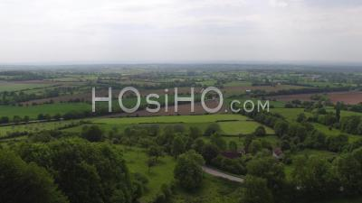 Drone Point Of View Of A Children Above The Bocage Normandy, Le Billot, Calvados, Normandy, France