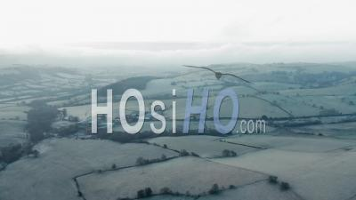 British Farm Buildings At Frosty Morning - Drone Point Of View