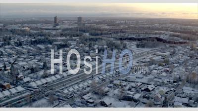Aerial Winter View Over Sollentune, Stockholm Sweden - Aerial Video By Drone