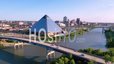 Mud Island, Memphis Tennessee With Downtown Skyline And Memphis Pyramid In Distance - Aerial Video By Drone