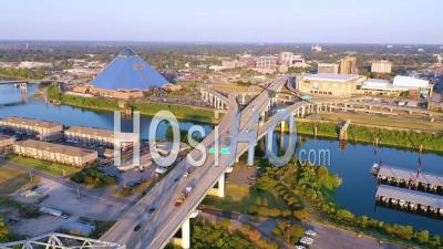Memphis Tennessee Across The Mississippi River With Memphis Pyramid Background - Aerial Video By Drone