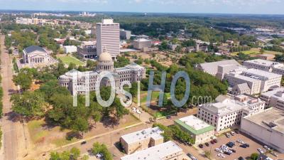 The Mississippi State Capitol Building In Jackson, Mississippi - Aerial Video By Drone
