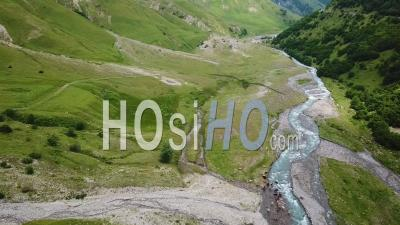 2019 - Aerial Video Of A River Through The Countryside In The Republic Of Georgia - Video Drone Footage